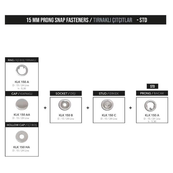 - 15 mm prong snap fastener, KLK 150