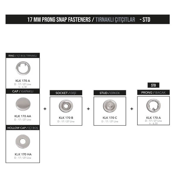 - 17 mm prong snap fastener, KLK 170