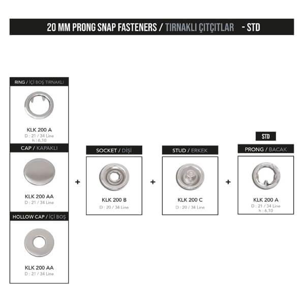 - 20 mm prong snap fastener, KLK 200