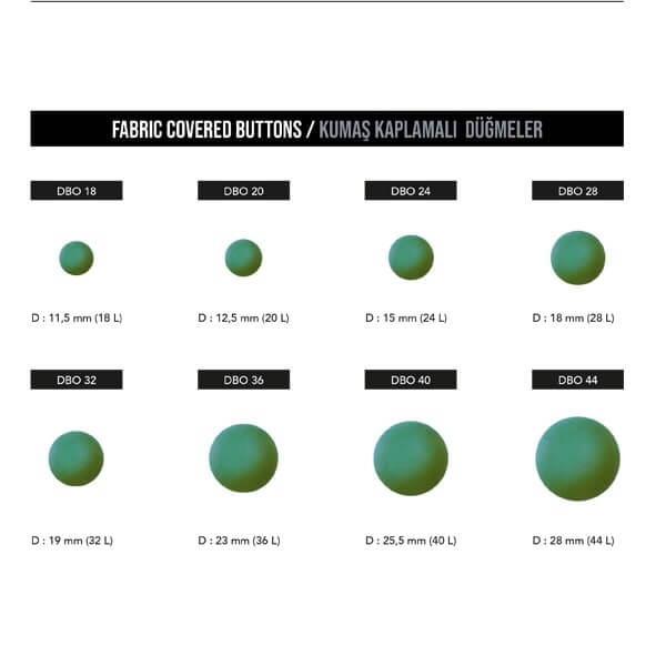 - Fabric covered buttons, DBO