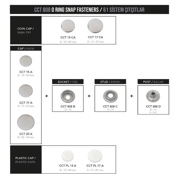 - Ring spring snap fastener, CCT 808