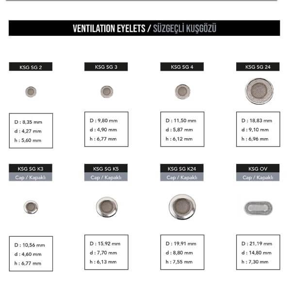 - Ventilation eyelets, KSG SG